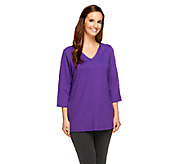 Denim & Co. French Terry 3/4 Sleeve Tunic with Pockets - A256323