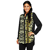 Susan Graver Printed & Solid Georgette Long Sleeve Button Front Shirt - A258623