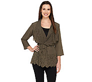 Dennis Basso Woven Perforated Drape Front Cardigan - A262923