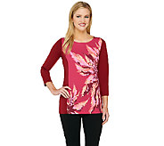 Bob Mackies 3/4 Sleeve Monet Floral Printed and Color-Block Top - A263723