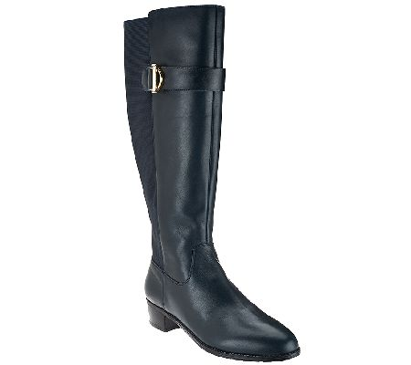 Isaac Mizrahi Live! Medium Calf Leather Riding Boots - A267123