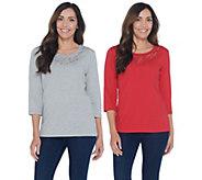 Quacker Factory Copper Crush Set of 2 Embellished T-shirts - A267223