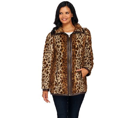 Dennis Basso Reversible Faux Suede and Printed Faux Fur Coat ...