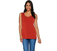 Susan Graver Essentials Liquid Knit Sleeveless Top with Shirring - A269323