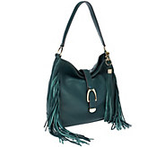 G.I.L.I Leather Stirrup Hobo Bag with Fringe - A271123