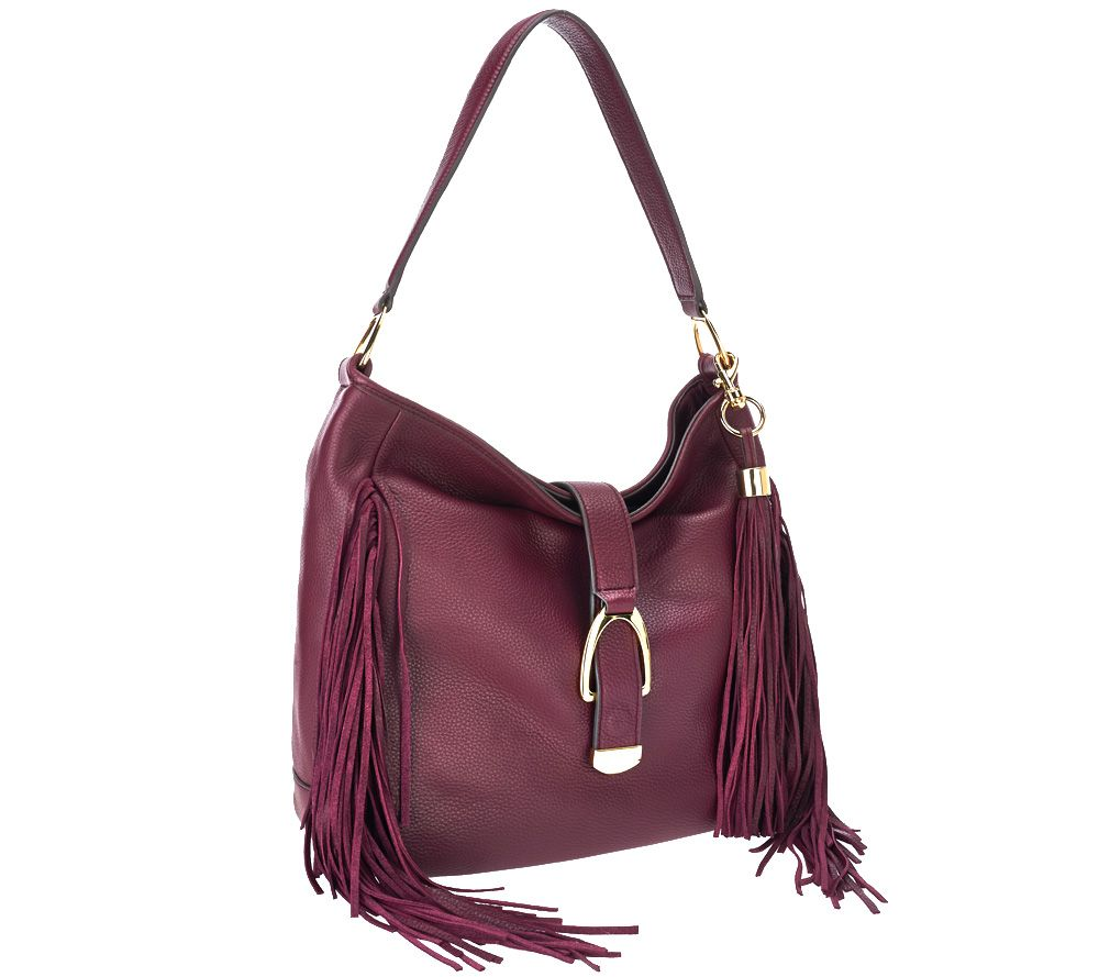 G.I.L.I Leather Stirrup Hobo Bag with Fringe - Page 1 — QVC.com