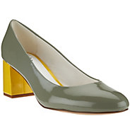 Isaac Mizrahi Live! Patent Leather Pumps with Contrast Heel - A273923