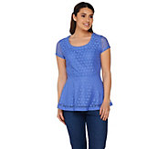 Isaac Mizrahi Live! Short Sleeve Stretch Lace Peplum Top - A275423