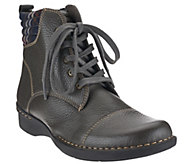 As Is Clarks Leather Ankle Boots with Flannel Detail - Whistle Bea - A276123