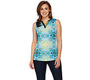 Susan Graver Printed Liquid Knit Sleeveless Split Neck Top - A276423