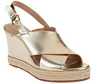 H by Halston Slingback Crossover Espadrille Wedges - Stella - A276523