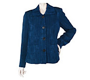 As Is George Simonton Button Front Jacquard Jacket with Front Pockets - A276723