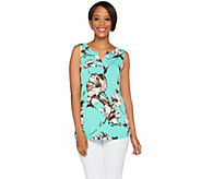 Susan Graver Printed Liquid Knit V-Neck Sleeveless Tank - A277823