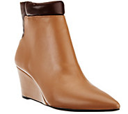 As Is H by Halston Two-Tone Leather Wedge Ankle Boots - A278523