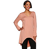 H by Halston Long Sleeve V-Neck Wrap Front Top - A278923