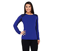 As Is George Simonton Milky Knit Top with Animal Printed Side Panels - A280723