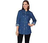 Quacker Factory Woven Boyfriend Shirt with Jeweled Front - A280823