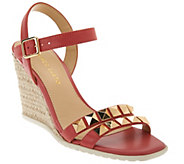 As Is Franco Sarto Leather Espadrille Wedges w/ Stud Detail - Nayla - A283823