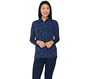 Susan Graver Printed Liquid Knit Button Front Shirt - A285423