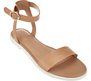 As Is H by Halston Leather Ankle Strap Sandals - Violet - A287223