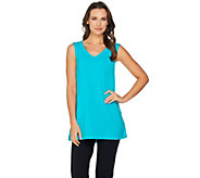 H by Halston Sleeveless V-neck Top w/ Mesh Trim - A288323