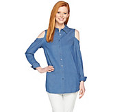 Denim & Co. Button Front Cold Shoulder Denim Tunic - A288723