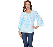 Kelly by Clinton Kelly Cold Shoulder Printed Georgette Top - A289723