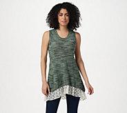 LOGO by Lori Goldstein Space Dye Sweater Tank w/ Embroidered Hem - A290523
