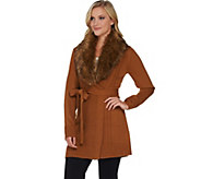 As Is Dennis Basso Mix Stitch Belted Cardigan with Faux Fur Collar - A291323