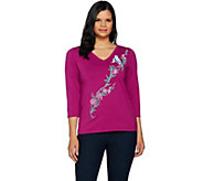 Bob Mackies Embroidered Song Bird V-Neck Knit Top - A292323