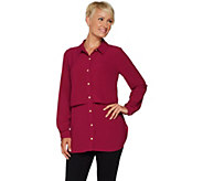 Susan Graver Regular Stretch Woven Button Front Shirt - A293623