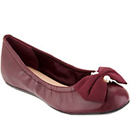 Isaac Mizrahi Live! Leather Ballet Flats with Faux Pearl Bow Detail - A297223