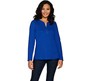 Denim & Co. Essentials Ribbed Half Zip Long Sleeve Top w/ Curved Hem - A299223