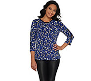 Susan Graver Printed Liquid Knit Top with Lacing - A300523