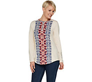 Studio by Denim & Co. Heathered Long Sleeve Printed Henley Top - A301123