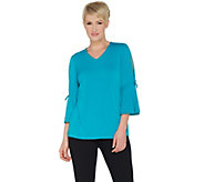 Every Day by Susan Graver Liquid Knit Split Bell Sleeve Top - A302623