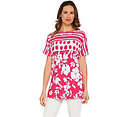 Susan Graver Printed Liquid Knit Extended Sleeve Tunic - A303323