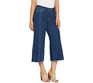 Du Jour Denim Culotte Pants with Fringe Bottom Hem Detail - A307523