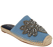 Marc Fisher Embellished Denim Espadrille Mules - Garden - A308023