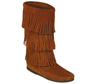 Minnetonka Women's Calf Hi 3-Layer Fringe Boots
