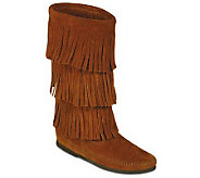 Minnetonka Womens Calf Hi 3-Layer Fringe Boots - A320323