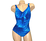 Carol Wior Slimsuit Island Palm Shirred Front Swimsuit - A337023