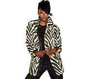 Isaac Mizrahi Live! Animal Printed Button Front Coat - A203524