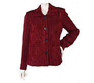 George Simonton Button Front Jacquard Jacket with Front Pockets - A216624
