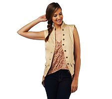 Luxe Rachel Zoe Mandarin Collar Military Vest with Pockets
