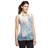 Susan Graver Printed Sheer Chiffon Sleeveless Blouse - A224324