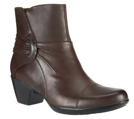 Clarks Leather Ankle Boots w/ Ruching - Ingalls Rosa