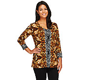 Susan Graver Liquid Knit V-Neck 3/4 Sleeve Printed Tunic - A251324