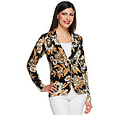 Isaac Mizrahi Live! Peony Blossom Printed Sweater Blazer - A252424