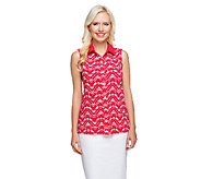 Susan Graver Printed Liquid Knit Button Front Sleeveless Top - A255724